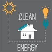 Grey Clean Energy logo with yellow sun and bulb, white house and green plug