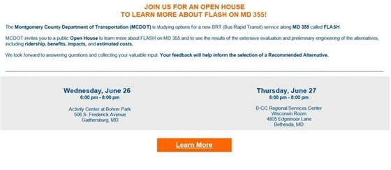 JOIN US FOR AN OPEN HOUSE TO LEARN MORE ABOUT FLASH ON MD 355!