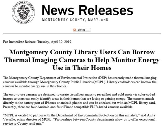 News Release Montgomery County Library Users Can Borrow Thermal Imaging Cameras