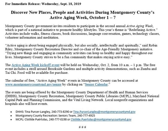 Press release for Active Aging Week in MoCo Oct 1-7, 219