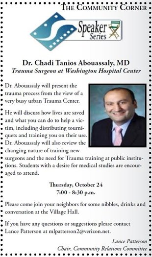 Speaker Series TONIGHT 7:00-8:30 PM at the Village Hall, Dr. Chadi Tanios Abouassaly