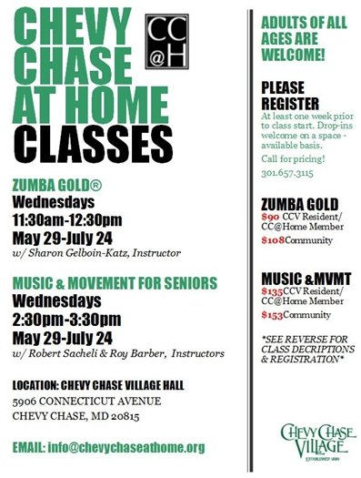 Chevy Chase at Home Classes Summer 2019