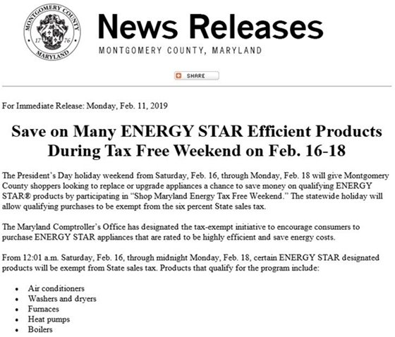 News Release for Energy Star Tax Free Weekend Feb 16-18