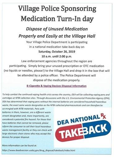 Village Police Sponsoring National Take-Back Medication Day