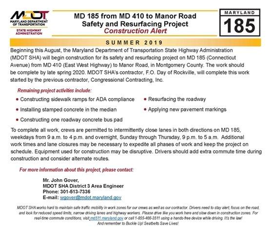 Connecticut Avenue Road Construction Alert