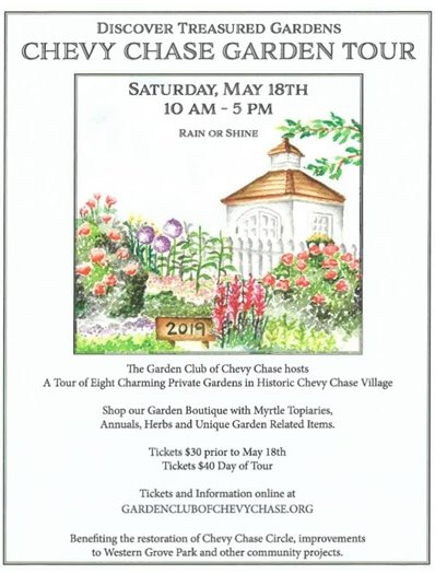Chevy Chase Garden Tour flyer with white house and garden
