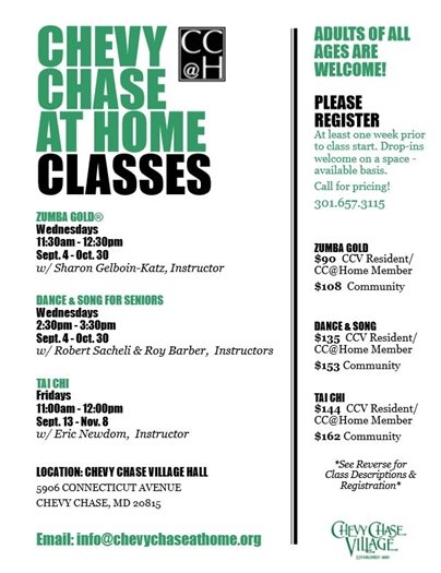 Chevy Chase at Home Classes Fall 2019 flyer