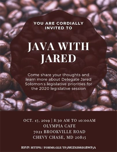 JAVA WITH JARED OCT. 17, 2019 | 8:30 AM TO 10:00AM OLYMPIA CAFE