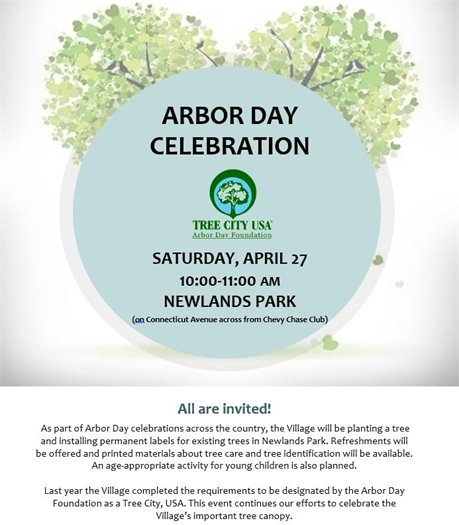 Arbor Day Celebration Flyer for April 27 with Tree City USA logo