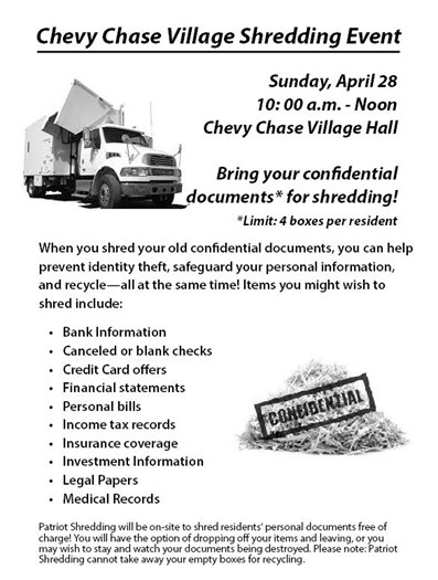 Chevy Chase Village Shredding Event Flyer with Truck Image