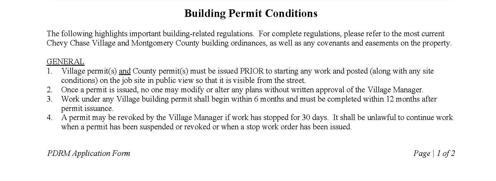 Building Permit Conditions