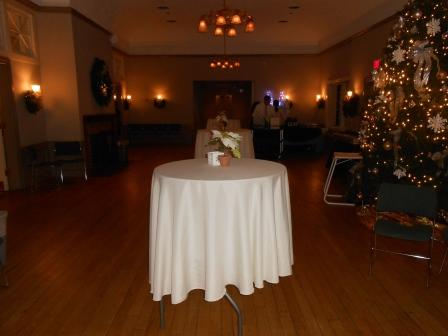 Tables and holiday decorations