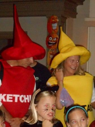 People dressed as ketchup and mustard