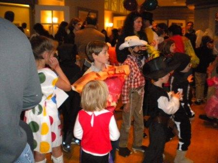 Many young people in costumes