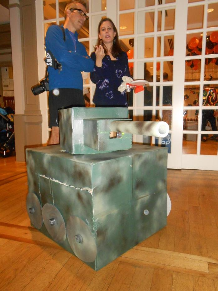 Young person dressed as tank