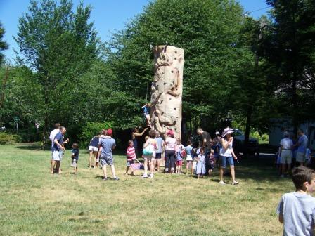 Group near climbing wall