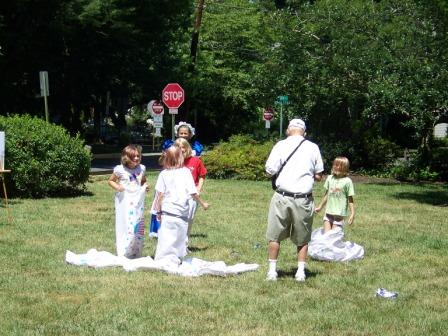 Group of sack race participants