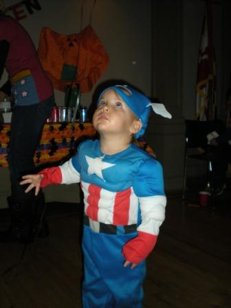 Young person dressed as Captain America
