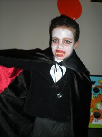 Young person dressed as vampire