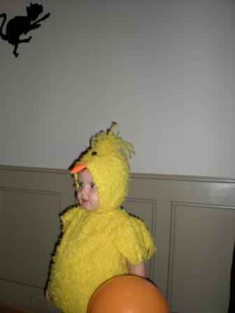 Young person dressed as yellow bird