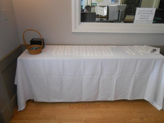 Long table with cards
