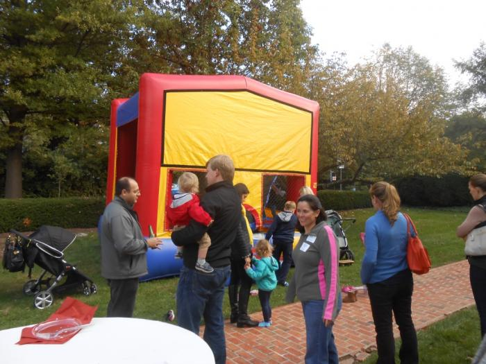 People gathered at inflatable house